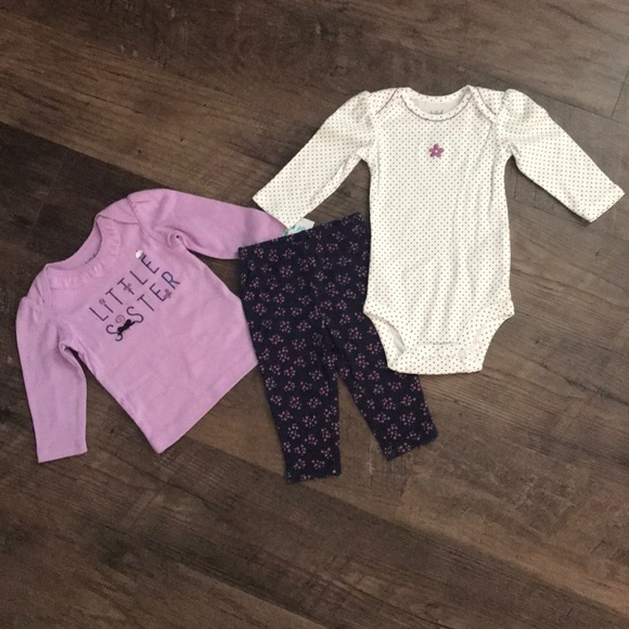 Child of Mine by Carters Other - 🆕Infant Baby Girl 3 Piece Purple Outfit Sz 0-3 mo